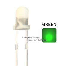 100pcs Round 3mm LED Green Diffused Ultra Bright Through Hole 2 pin LED Light Lamp