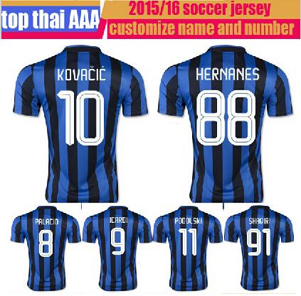Serie A 2015 2016 inter soccer jersey Thai Quality 15 16 Kovacic Hernanes VIDIC Shaqiri milan ICARDI GUARIN suit football shirts(China (Mainland))