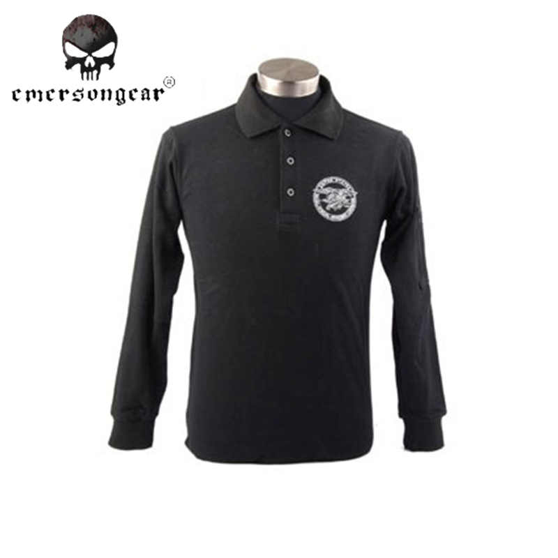 Emerson Navy Army Polo Shirt Stand Neck Cotton Long Sleeve T-shirt Military Hunting Paintball Skin-friendly Anti-sweat Clothing