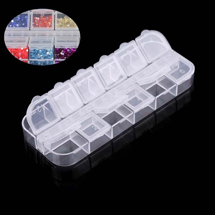 1pcs12 grid Glitter Nail diamond jewelry store empty storage,DIY Nail drill box storage box container decorative nail tools