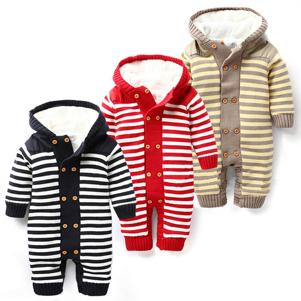 2015 latest Winter children's wear children's stripe jumpsuit Lambs wool baby climb clothes knitting child hooded clothing(China (Mainland))