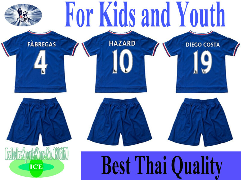 New Top Quality 2015-16 Chelsea Home Kids Kit Hazard Fabregas Diego Costa uniform football shirt Chelsea Home free shipping(China (Mainland))