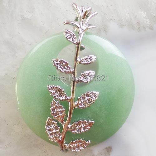New Fashion Leaf Wrapped Green Aventurine stone Circle Pendant Beads(China (Mainland))