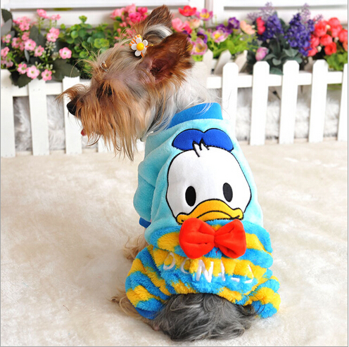2015 New Pets To clothing Soft Winter Warm Brand Pink Blue Duck Cat Pet Jumpsuit For Puppy Animals Yorkshire Bulldog  PT72(China (Mainland))