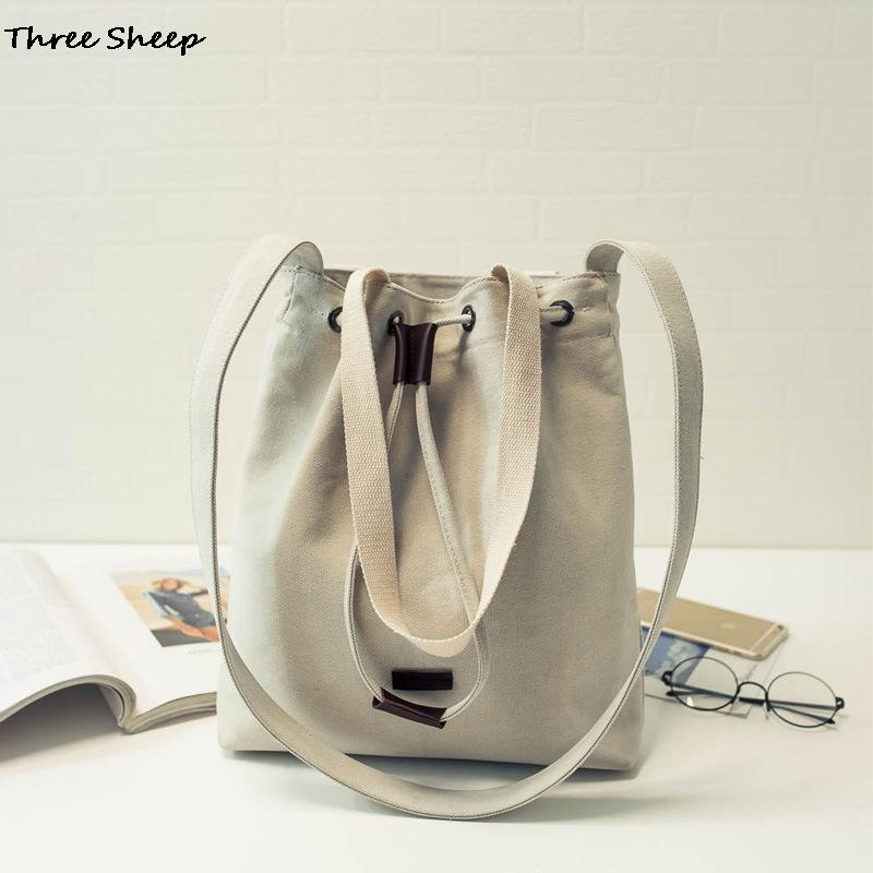 Women Canvas Handbag Drawstring Shoulder Bags Canvas Tas Canvas Bucket Bag Shopping Bags Sac 2016 Bolsos De Lona Mujer(China (Mainland))