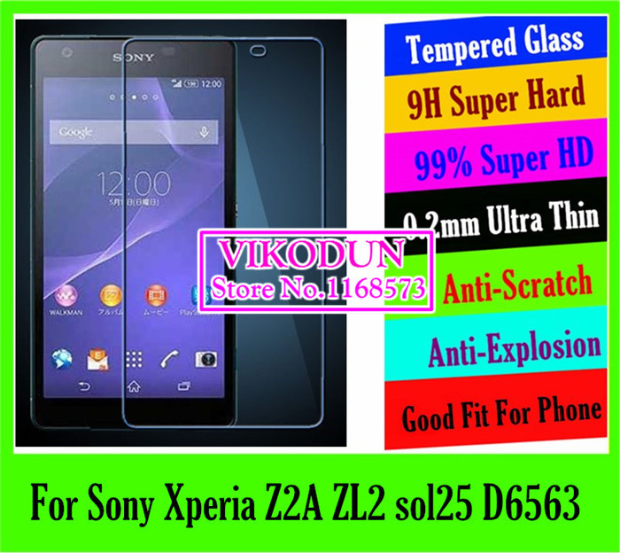 Top quality projector 0.2mm 9H tempered glass Screen Protector For Sony Xperia Z2A ZL2 sol25 D6563 mobile Protective LCD Film(China (Mainland))