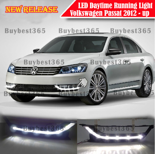 2x White LED DRL Daytime Running Light Fog Lamp cover Volkswagen PASSAT B7 USA Model 2012 2013 2014 - buybest365 store