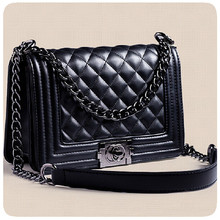 New Popular 2016 Quilted Plaid Women Messenger Bag Chains Mini Black Cross body Bags For Women Famous Pu Leather Small Bags F007
