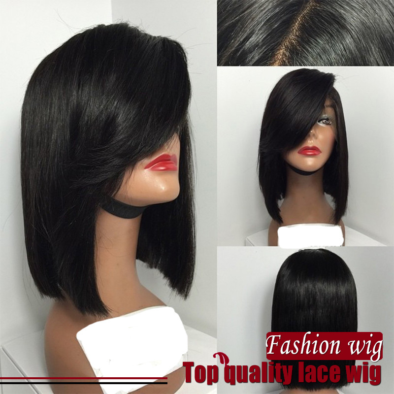 180% density hand woven Synthetic lace front wig Bob straight black color lace front wigs Bob wig for black women