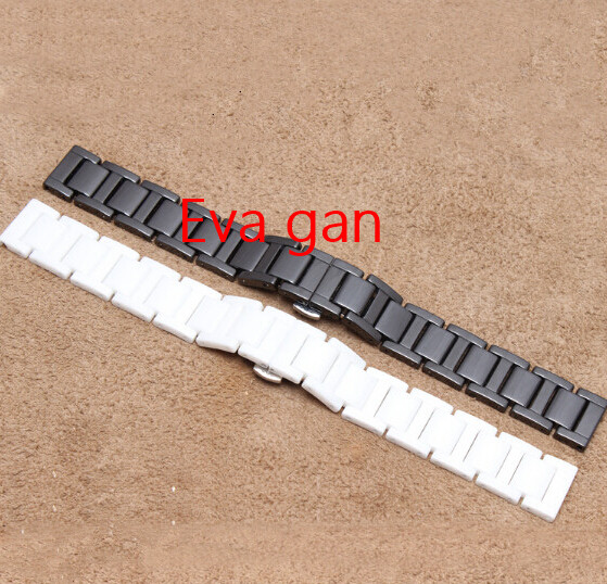 Watch accessories Ceramic Black white strap bracelet band women men 14mm 16mm 18mm 20mm diamond ceramic watch - Eva store