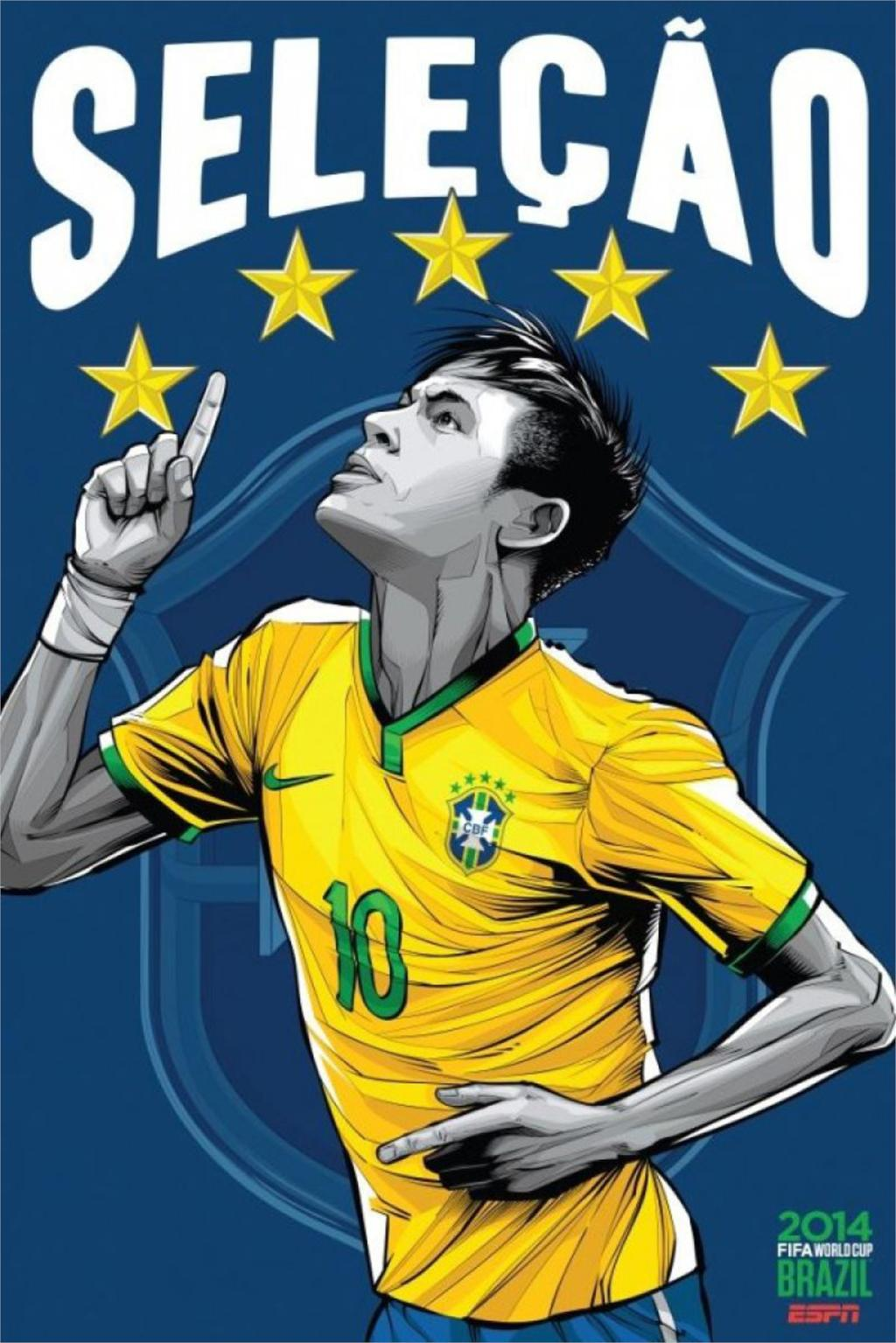 ESPN 32 World Cup Poster Brazil Soccer Football Stars Teams Art Silk Print For Room Deco hot Home Collection (13)(China (Mainland))