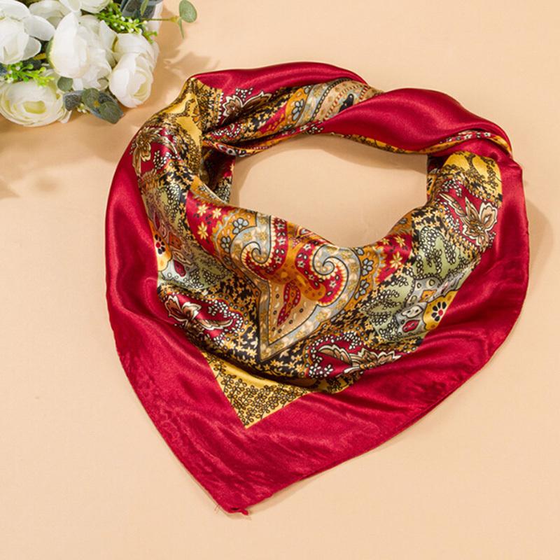 "2016 Women Big Square Silk-like Satin Large Scarf Wrap 35""*35"" Printing Shawl(China (Mainland))"