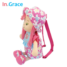 In.Grace high quality children's cotton flowers backpack for girls kawaii baby backpacks polka dot bags 18INCH TOY BAG(China (Mainland))