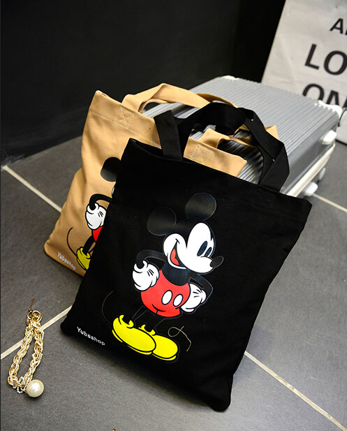 2015 Fall / fashion girls casual shoulder bag / cartoon Mickey canvas bag / hand women bag / shopping big bag / Free Shipping<br><br>Aliexpress