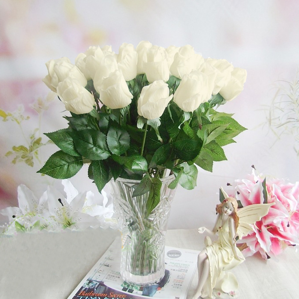 Fake artificial decorations flowers silk rose bouquet for Artificial flowers for wedding decoration