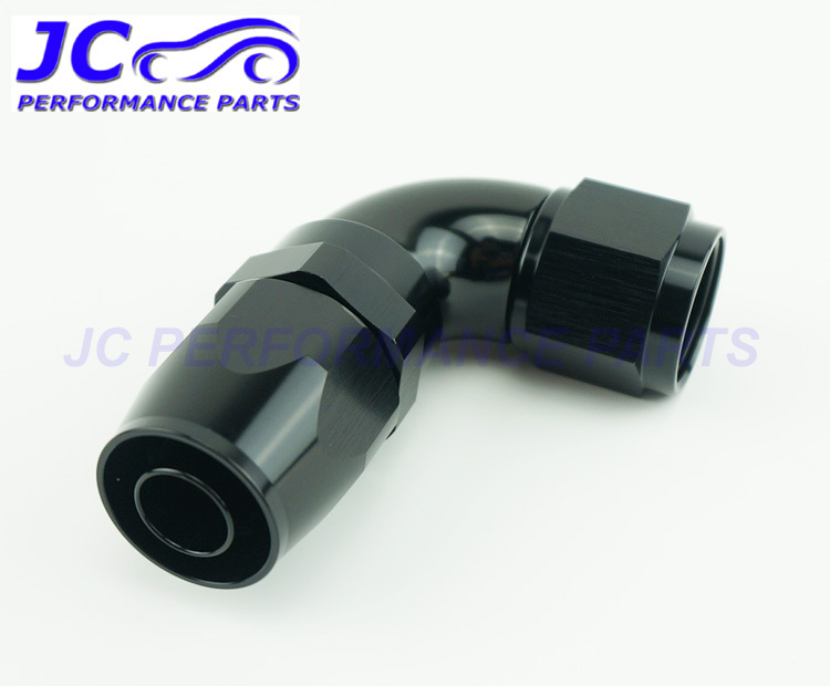 JC Performance Parts - AN8 -8 AN 90degree full flow one piece oil cooler fitting hose end adapter swivel type black