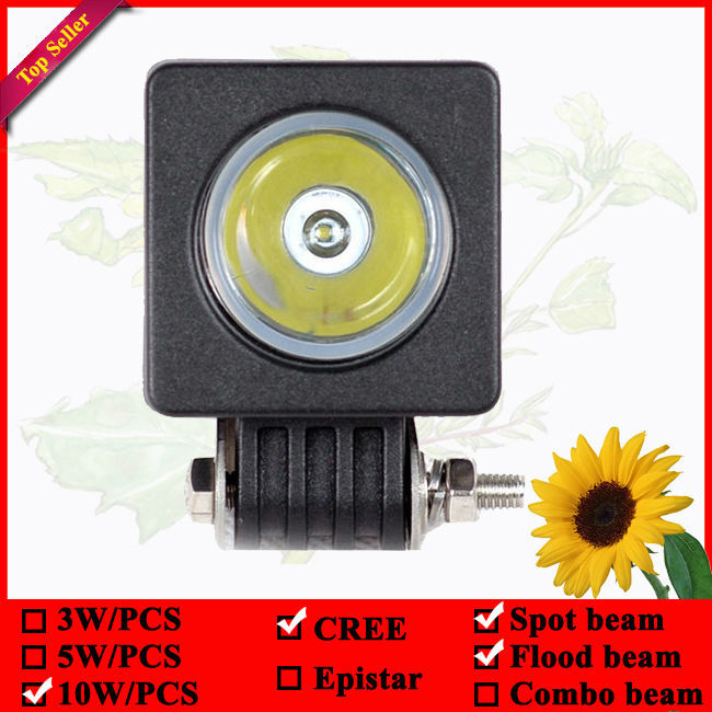 Rectangle 10W 2inch led work light Flood or spot beam with Black or white housing(China (Mainland))