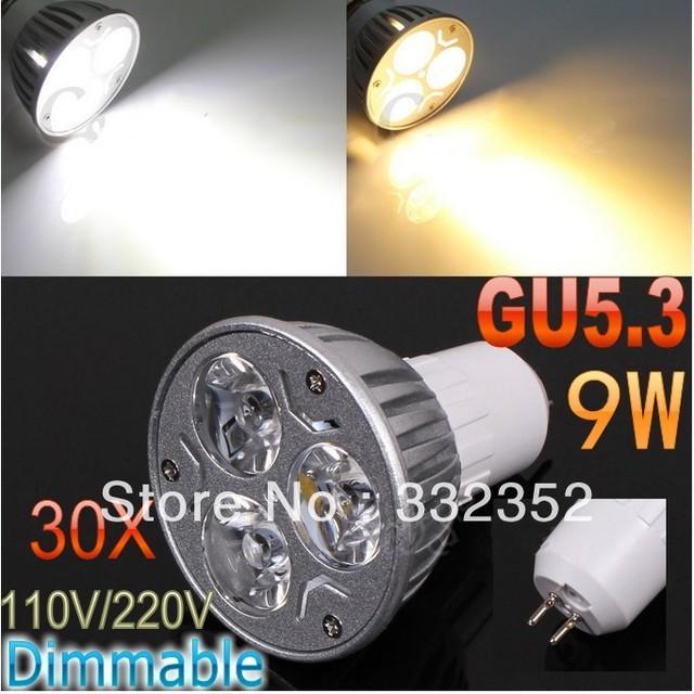 DHL FEDEX Free Shipping 30pcs/lot GU5.3 High power CREE 3x3W 9W 110V-240V Dimmable Light lamp Bulb LED Downlight Bulb spotlight