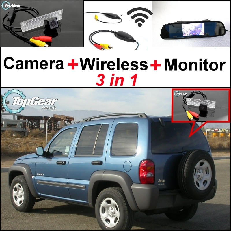 3 in1 Special Rear View Camera + Wireless Receiver Mirror Monitor EASY DIY BACKUP Parking System Jeep Liberty 2002~2007 - NOVOVISU Store store