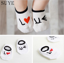 0-2Y Infant Baby Slipers Floor Cotton Socks Bebe Boys Girls Kids Cute Asymmetric Animal Rabbit Rat Bear Cartoon