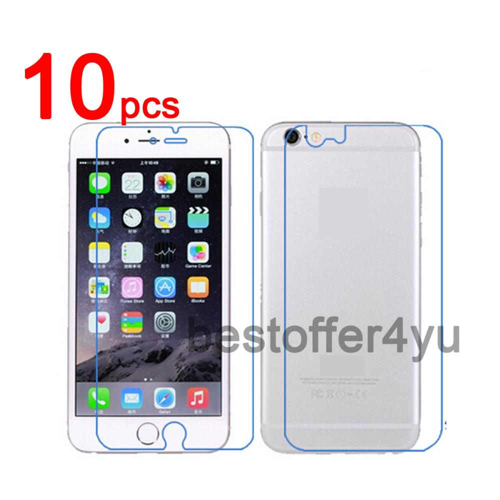 """10pcs front + 10pcs back Clear LCD Screen Protector Guard Cover Film For iPhone 6 4.7"""" + 10pcs Cleaning Cloth"""