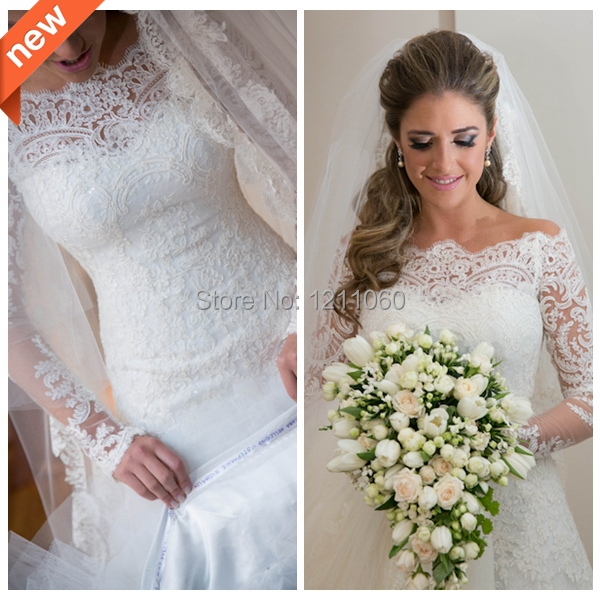 Hot Sale Lace Wedding Dress Ball Gown Strapless Appliques Beaded Long Sleeve Winter Wedding Dresses Elegant Bridal Gown(China (Mainland))