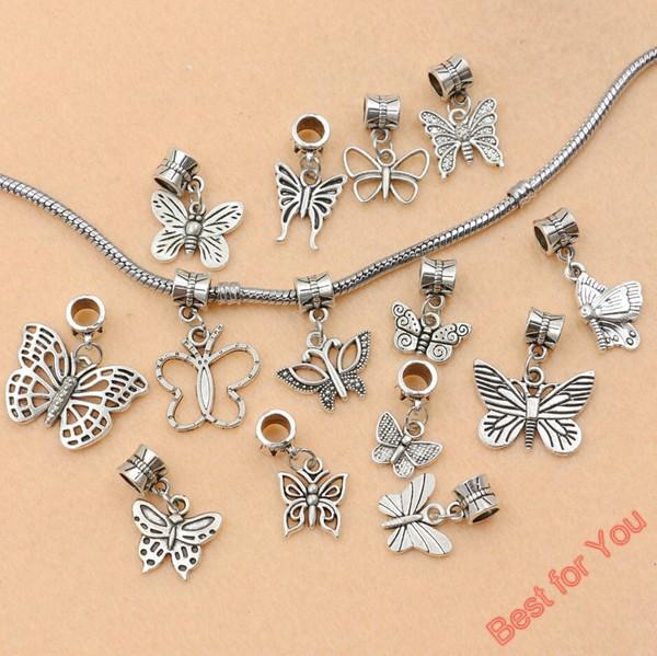 Гаджет  14pcs Tibetan Silver Tone Butterfly Dangle Beads European Charms Bracelet Jewelry DIY Jewelry Findings Floating Charm None Ювелирные изделия и часы