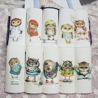 Cute Owl Series 15*15cm Canvas Hand-Dyed Printed Fabric Diy Handmade Sewing Craft Patchwork Scrapbooking Fabric For Purse Bag