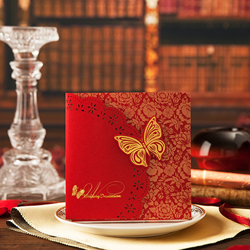 (50 pieces/lot)Lovely Butterfly Wedding Invitation Card 15*15cm Perfect Quality Chinese Red Including Envelopes And Seals(China (Mainland))