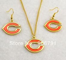 5set a lot fashion Chicago Bears gold Plated Necklace Earring Set sport jewelry(China (Mainland))