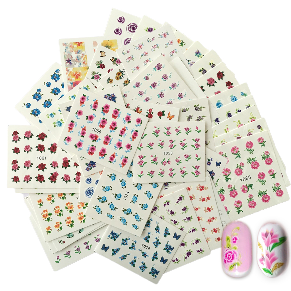 SWEET TREND 50Sheets Beauty Floral Designs Nail Stickers Mixed Decals Water Transfer Sticker DIY Nail Art Decoration LA1051-1100(China (Mainland))