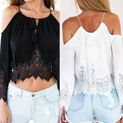 2016 New ArrivalWomen's Summer Sexy Lace Off Shoulder Long Sleeve White Tops Strap Blouse 3FW6D