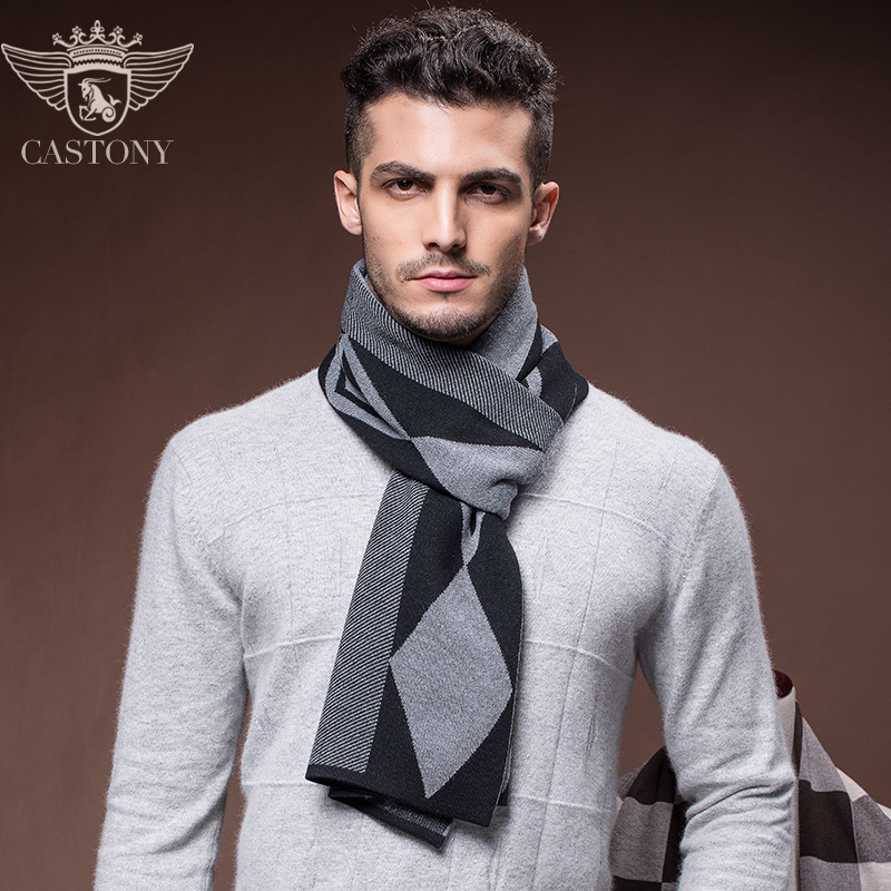 2014 male autumn and winter wool scarf quality mencashmere scarf plaid business fashion gray long men wool scarves 180*30cm(China (Mainland))