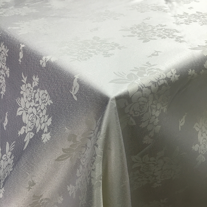white flowers pattern 30pcs 108 inch round and 10pcs 90 inch x132 inch rectangular polyester tablecloth(China (Mainland))