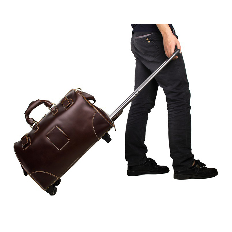 Genuine Leather Trolley Luggage, Vintage Suitcase, brown boarding package, Business Travel Bags Men handbags Women Specials 7315(China (Mainland))