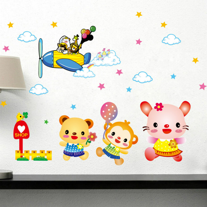 Cartoon Animal The Pilot Wall Stickers For Kids Rooms cute wallpaper creative waterproof safe pvc healthy Home Decor(China (Mainland))