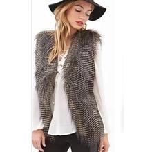 autumn and winter lady imitation fur vest Long fake fox fur waistcoat for women warm faux fur gilet sleeveless jacket overcoat(China (Mainland))