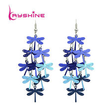 Brincos De Festa Cute Blue and Colorful Dragonfly Bohemian Jewelry Dangle Earrings for Women(China (Mainland))