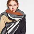 Couple Striped Scarf Luxury Brand Cashmere Winter Scarf Pashmina Women Ponchos and Capes Infinity Scarf Men