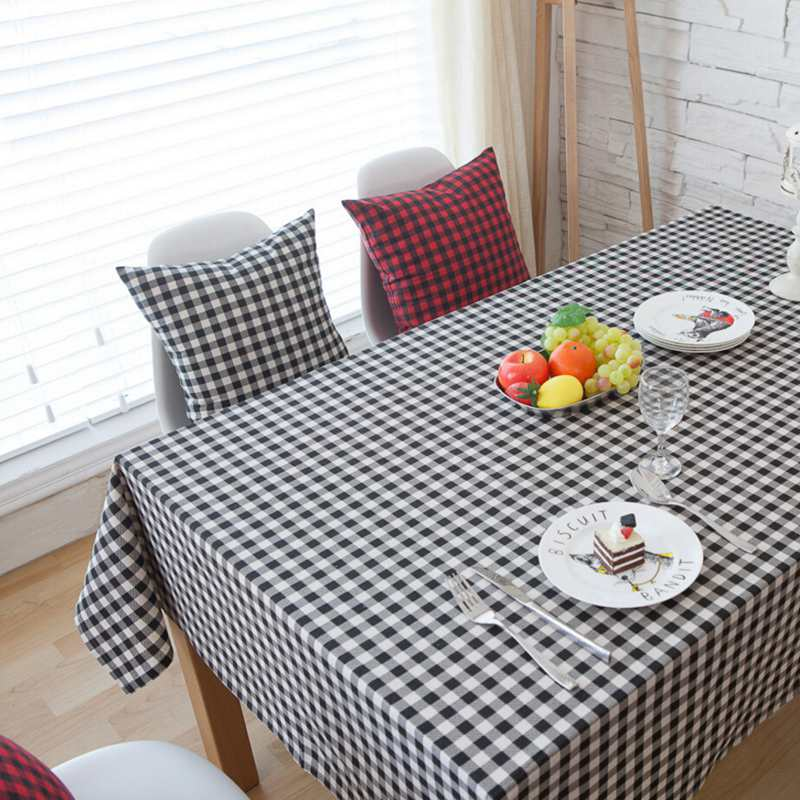 HCSTAR Black White Plaid Table Cloth Linen Tablecloth Cloth for Tea Table Cover decor Picnic Cloth Pad Nappe(China (Mainland))