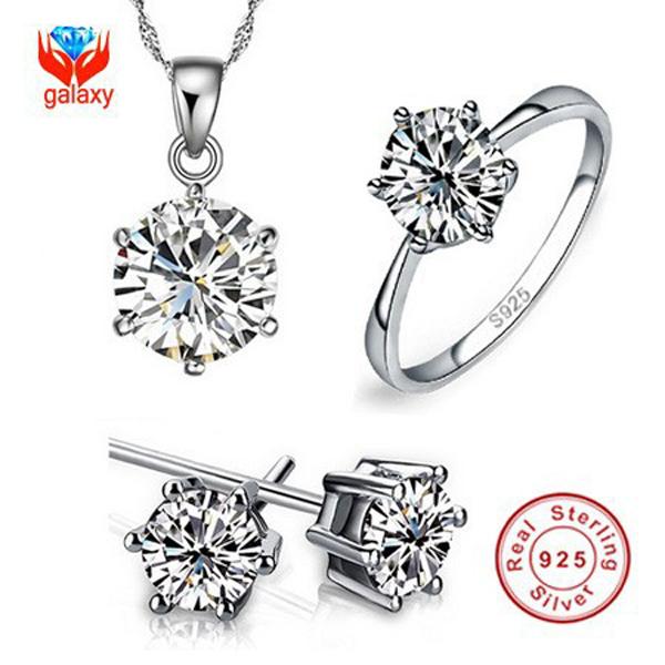 Роскошный бренд 100% реальная 925 серебряных ювелирных изделий устанавливает роскошные ...