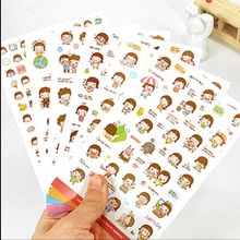 12 sheets/lot cookie girl paper sticker PVC decoration sticker for phone album scrapbooking stationery chirldren gift(China (Mainland))