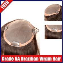 1pc Human Hair Toupee For Men Brazilian Virgin Human Hair Toupee 6A Short Length Clip-in Top Closure Hairpieces Human Hair(China (Mainland))