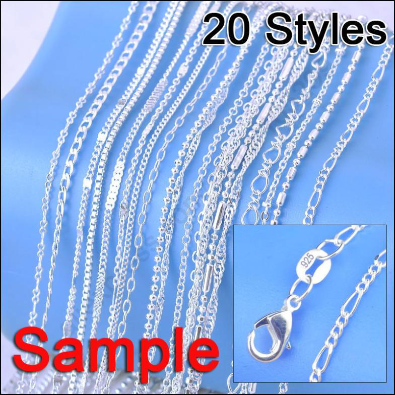 "Jewelry Sample Order 20Pcs Mix 20 Styles 18"" Genuine 925 Sterling Silver Link Necklace Set Chains+Lobster Clasps 925 Tag(China (Mainland))"