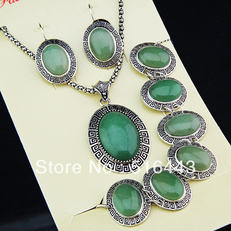 Vintage Antique Silver Plated Oval Natural Light Green Jade Stone Earrings Bracelet Necklace Women Jewelry Set A-792 - Edna store