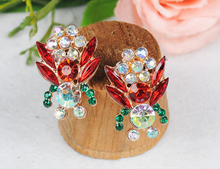 New Fashion Full Austrian Rhinestone Crystal Stud Earrings for Women Wholesale! Vintage Big Earrings Jewelry! Free Shipping(China (Mainland))