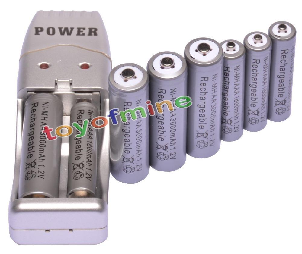 4+4 X AA AAA 1800mAh 3000mAh Rechargeable Battery 1.2V Grey + USB Charger(China (Mainland))