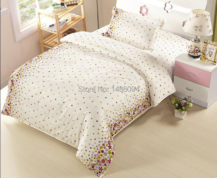Students 100% cotton Bedding set factory printed lovely bedding-set for girls Full size Free shipping Air shipment(China (Mainland))