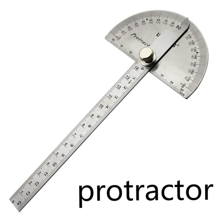 Stainless Steel Ruler Angle Protractor Woodworking Multi Function Stainless Steel Round Head ...