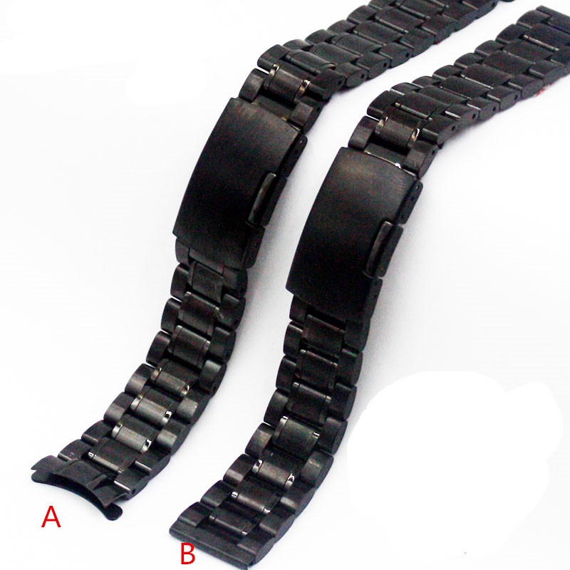 18mm 20mm 22mm Solid black strap Stainless Steel Watch Strap Bracelet For Casio For Rolex for all brand watches(China (Mainland))